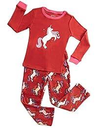 Kids & Toddler Pajamas Girls 2 Piece Pjs Set Cotton Top & Fleece Pants Sleepwear (2-14 Years)