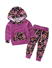 Baby Girls Floral Hoodie+ Floral Pant Set Leggings 2 Piece Outfits (3Years, Purple-red)
