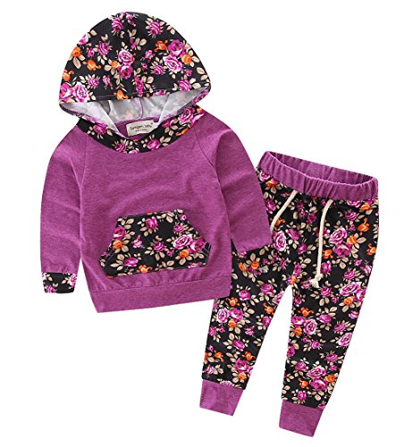 Baby Girls Floral Hoodie+ Floral Pant Set Leggings 2 Piece Outfits (12-18Months, Purple-red)