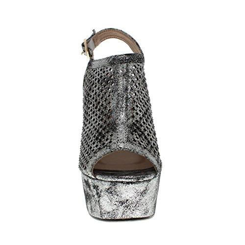 Moca Hög Klack Kvinna Avslappnad Faux Öppen Tå Glittered Läder / Vikt Laserskuren Rhinestone Designen Madden-83 Tenn