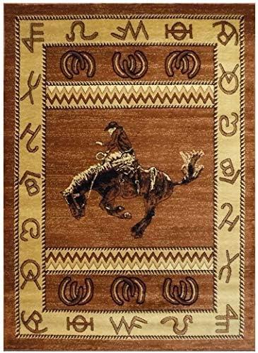 Lodge Western Area Rug Design 370 Brown 5 Feet 2 Inch X 7 Feet 3 Inch