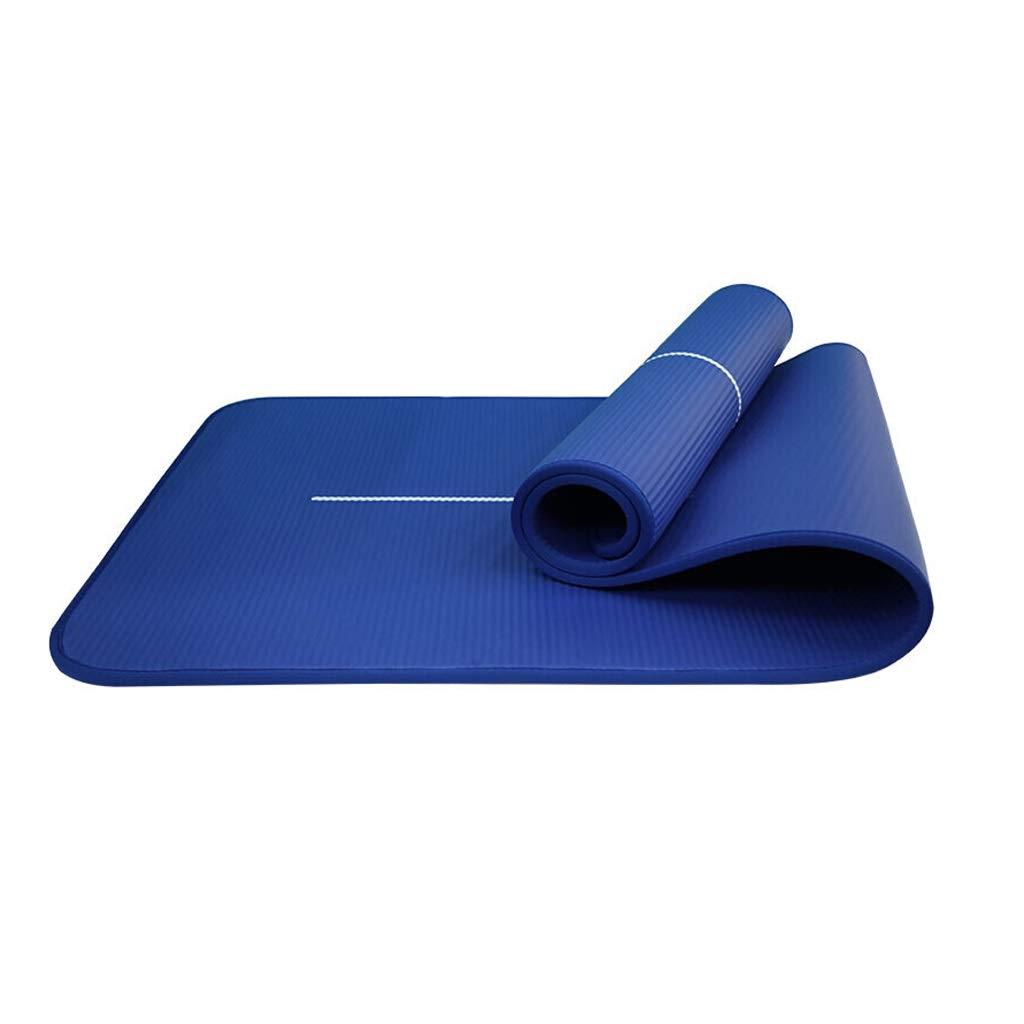 ラバーヨガマットリバウンド高速引き裂き防止厚手スポーツフィットネスマット10mmマルチカラーオプションの初心者用 B07P4LL82Q  青