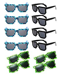 Party Sunglasses Pixel Sunglasses Novelty Retro Gamer Geek Glasses Costume Sunglasses for Kids and Adult Party Favors