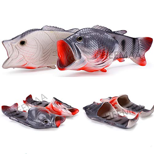 HEEMAA 4 Colours Fish Slippers Beach Shoes Non-Slip Sandals Creative Fish Slippers Men and Women Casual Shoe (Woman 10-11/male 8.5-9.5, Black) -