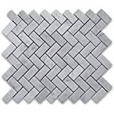 Carrara White Italian Carrera Marble Herringbone Mosaic Tile 1 x 2 Honed