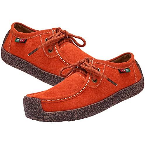 Jipai(TM) 6 Colores Zapatos de Cuero Genuino de Las Mujeres de Planos Casuales Zapatilla de Deporte de Gamuza Cosida a Mano de la Mujer Naranja