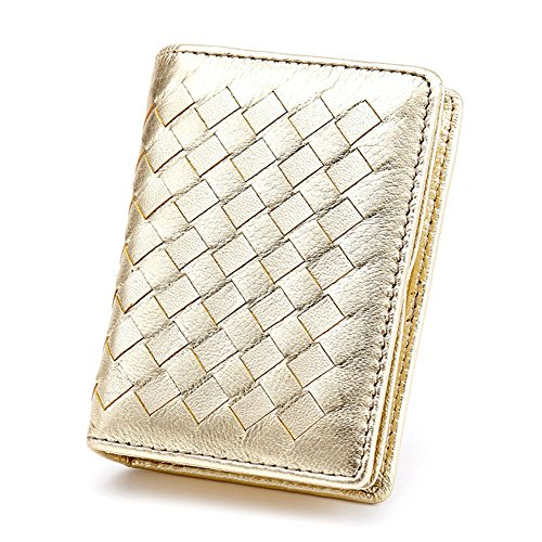 (MuLier Woman Card Holder Wallet Leather Genuine Sheepskin Weave Pattern Card Holders Credit ID Business Case Coin Purse Gold)