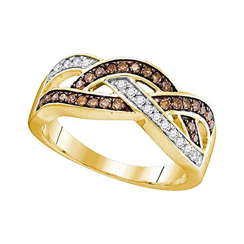 Diamond Crossover Gold - Size - 7.5 - Solid 10k Yellow Gold Round White and Chocolate Brown Diamond Channel Set Curved Crossover Wedding Band OR Fashion Ring (1/3 cttw)