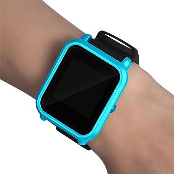 Moda Slim Colorido Marco Caso Cubierta Proteger Shell para Xiaomi Huami Amazfit bip younth Watch (Azul)
