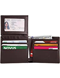 Shvigel Bifold Men's Wallet made of Genuine Leather with RFID-Blocking and ID Window (Dark Brown)