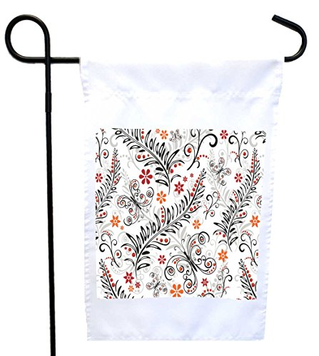 (Rikki Knight White Floral Pattern Design Garden Flag 12 x 18 Flag Size with 11 x 11 inch Image with Sturdy Black Wrought Iron Flag Pole (Proudly Printed in The USA))