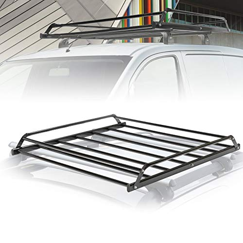 (FieryRed Universal Rooftop Cargo Basket Heavy Duty Cargo Roof Carrier Rack Ideal for SUV,Truck,Car, Roof Top Luggage Carrier for Hauling Luggage. Size: L38 x W38 x H4.5)