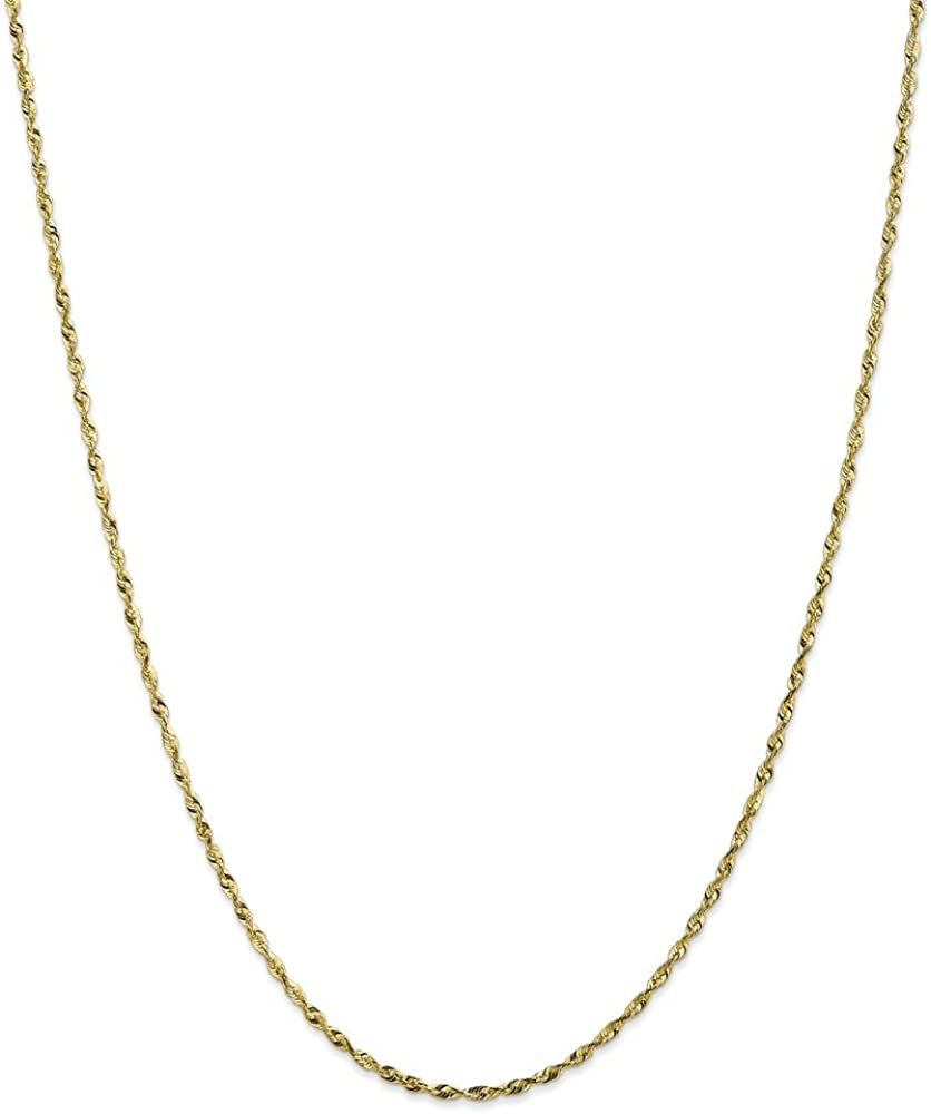 16in x 1.8mm 16 Mia Diamonds 10k Yellow Gold 1.8mm Diamond-Cut Extra-Lite Rope Necklace Chain