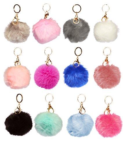 1 Keychain (1 Dozen of Faux Fur Pom Pom Keychains (J2208))