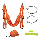 Aerial Yoga Swing by Newk Yoga - Yoga Swing Trapeze Kit for Indoor Outdoor Workout - 2 Extension Straps, 1 Sweat Wristband, 1 Exercise Loop Band, and 1 Drawstring Bag Included