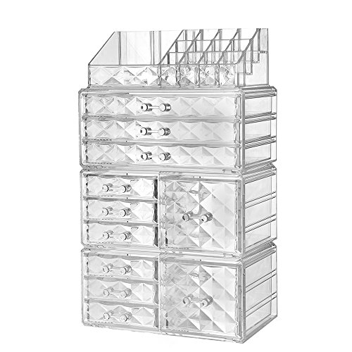 Diamond Bath Pattern Jewelry (ZHIAI Acrylic Jewelry Makeup Drawer Organizer - Diamond Pattern Clear Cosmetic Storage Set, 6 Small Drawers, 3 Large Drawers and 2 Square Drawers, Great for Bathroom, Dresser, Vanity and Countertop)