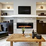 Joy Pebble Electric Fireplace, in-Wall Recessed and Wall Mounted 750/1500W Fireplace Heater, Touch Screen, Remote Control with Timer, Black from Joy Pebble