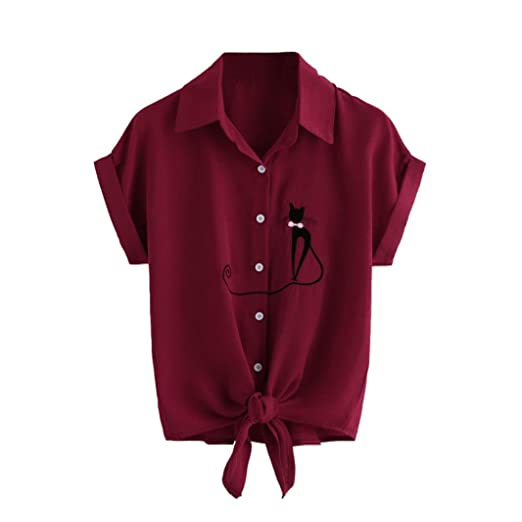 b1b62eee Women Summer Cute Cat Embroidered Tie Knot Short Sleeve Button Down Shirt  Blouse Tops at Amazon Women's Clothing store: