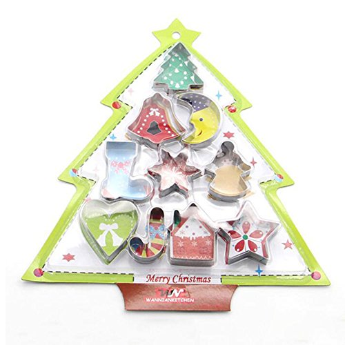 10pcs/set Stainless Steel Cookie Cutter Christmas Star Heart Tree Sock Shape Mold Christmas Series Biscuit Cutters (Winter Bouquet Cookie)