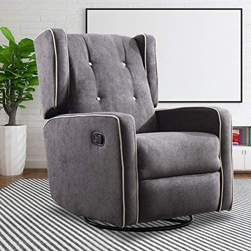 Canmov Swivel Rocker Recliner Chair Manual Reclining Chair Single Seat Reclining Chair Smoke Gray Kitchen Dining