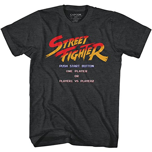 - American Classics Unisex Street Fighter Start Screen Adult Short Sleeve T-Shirt, Black Heather, XLarge
