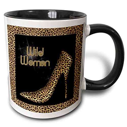 3dRose 21804_4 Cheetah Print Wildly Woman Stiletto Pump And Diamond Bling - Two Tone Black Mug, 11 oz, Multicolored
