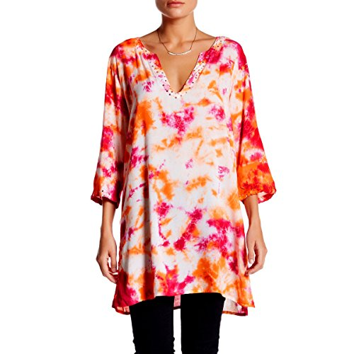 KC Signatures Women's Tie Dye Top Blouse Tunic Coverup with Side Split Hem and Sequin Details (XL, Coral)