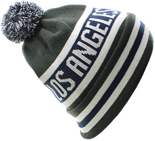 US Cities Los Angeles LA California Republic Cuff Beanie Knit Pom Pom Hat Cap