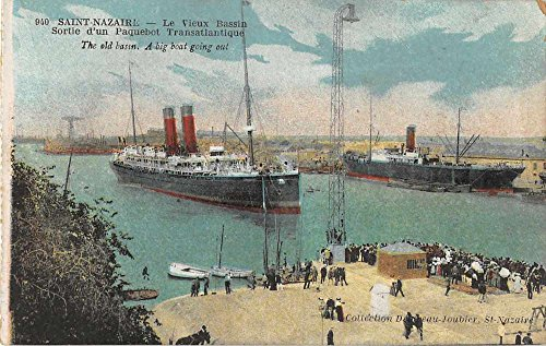 Saint Nazairl France birds eye view the old basin large ships antique pc - Pc Old Ship