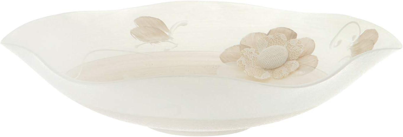 da 22 cm Bianco//Beige Centrotavola decorato in vetro