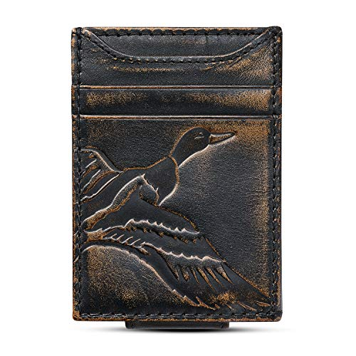 HOJ Co. DUCK Front Pocket Wallet-Slim Money Clip Wallet-Strong Magnetic Closure-Duck Hunter Gift