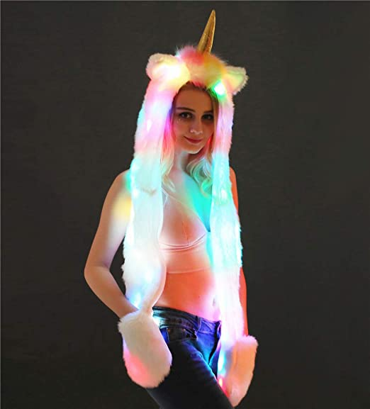 Festival Charming Light Up LED Unicorn Hat Hoodie Ears Long Scarf Gloves Set