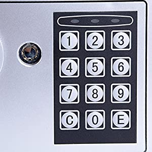 """Security Box, Digital Home Safe Box, Wall Floor Electronic Keypad Lock Security Safe Boxes for Money,Jewelry(8.9"""" X 6.5"""" X 6.5"""") (Sliver)"""