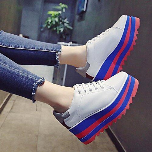 KHSKX-Blanco 8 Cm De Inglaterra En El Viento De Otoño Chica Zapatos Estudiantes Y Bizcocho Versátil Zapatos Gruesos Calzado Casual Con La Pendiente Ascendente 35