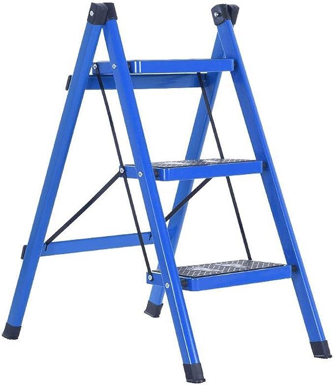 RANRANJJ Escalera de mano plegable colorida del hierro al aire libre, escalera de paso ancha portátil del acero resistente 3 plegable 3 con la pisada antirresbaladiza, escalera plegable pequeña del ta: Amazon.es: