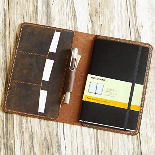 56f8ac77cb8 Amazon.com: Distressed Leather Moleskine Classic Cover Larger size 5x  8.25,A5 Notebook Cover, portfolio Agenda Cover Diary Cover Personalized, ...