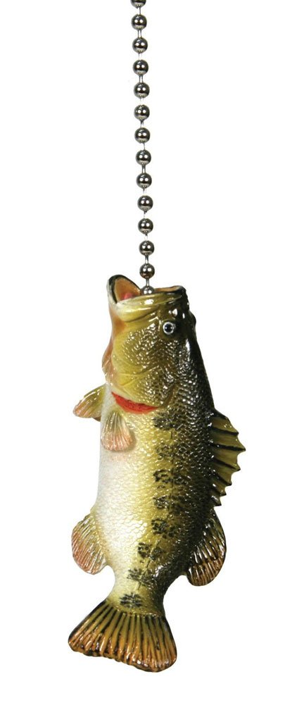 Large Mouth Bass Fishing Lodge Ceiling Fan Pull Light Chain