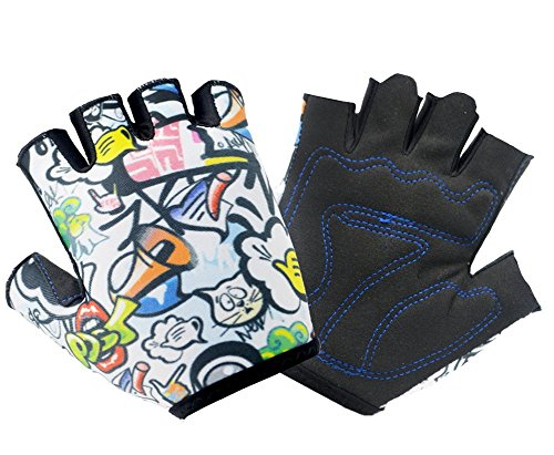 (QCHOMEE Girls Boys Stylish Biking Gloves Half Finger Sport GYM Fitness Gloves MTB Racing Mitts Non-slip Shockproof Breathable Short Finger Summer Gloves Mountain Road Biking Gloves)