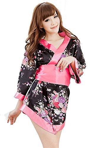Women's Sexy Lingerie Kimono Printed Satin Nightgowns