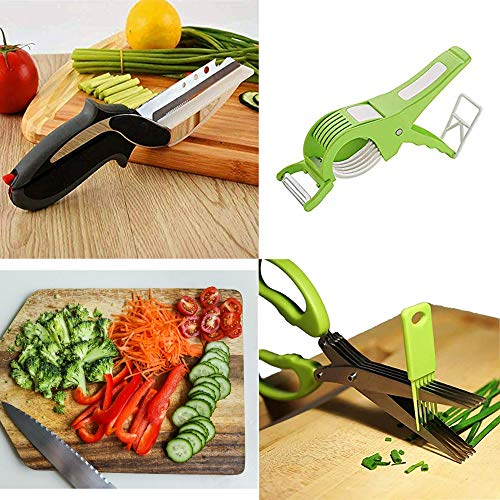 Shelter 3 in 1 Multifunctional Vegetable 5 Blade Scissor + Cutter with Peeler + Clever Cutter Combo Pack|Vegetable Combo Set| for Smart Kitchen Appliance & Tools|Multicolour