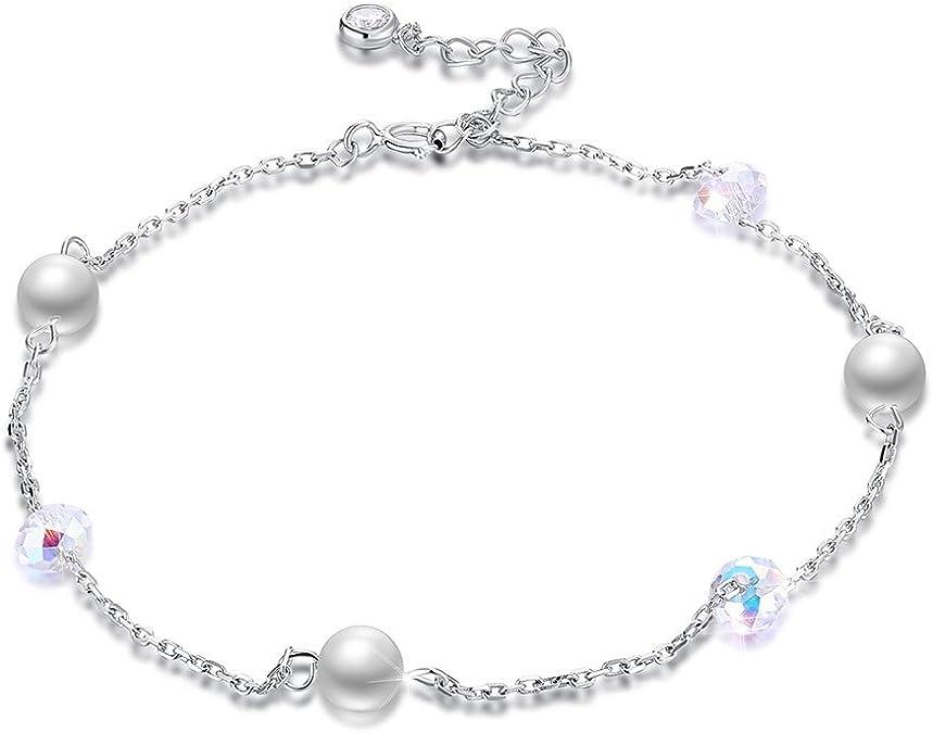 Pearl Ankle Bracelet \u2022 Cream Freshwater Pearl Anklet On Silk \u2022 Sterling Silver Understated Adjustable Chain Delicate Minimalist
