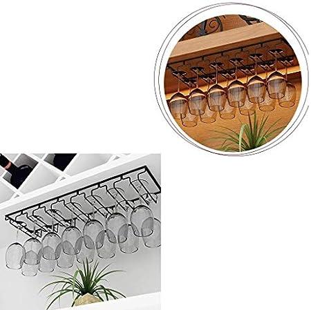 Estantería de vino 4 ranuras 8 copas de vino de metal montadas en la pared Soporte de vidrio Champagne Percha de vidrio, Soporte de vidrio, Vaso colgante Vaso de champán Copa de vidrio for vasos 61x23