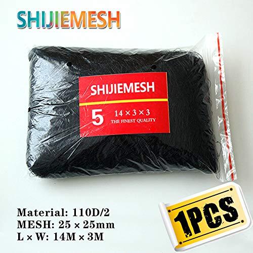 14M x 3M 25mm mesh Garden net Polyester 110D 2 Knotted Netting Anti Bird Mist Net 1pcs   Black
