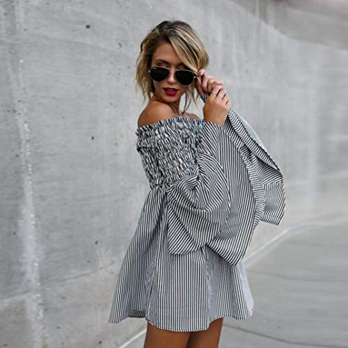 Party paule Robemon Vacances Robe Dress Ladies Casual Mini Hors Noir Longues Womens Manches Stripe qgwHFZXw