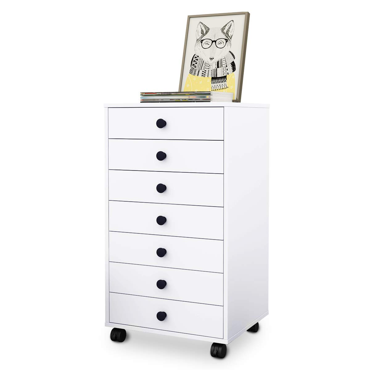 DEVAISE 7-Drawer Mobile Cabinet,Chest Dresser with Handle for Closet & Office, White (New White)