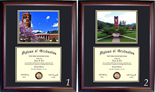 (Western Carolina Diploma Frame - Photo Option #1 - Cherry Frame)