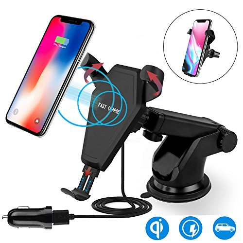 Fast Wireless Charger,MEIWU Car Mount Air Vent Phone Holder Cradle for Samsung Galaxy Note 7/6/S8/S8 plus/S7/S6 Edge plus,QI Wireless Standard Charge for iPhone 8/ 8 plus/ X etc.