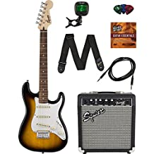 Squier by Fender Short Scale Stratocaster - Brown Sunburst Bundle with Frontman 10G Amp, Cable, Tuner, Strap, Picks, and Austin Bazaar Instructional DVD