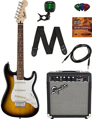 Squier by Fender Short Scale Stratocaster Pack with Frontman 10G Amp, Cable, Strap, Picks, and Online Lessons – Brown Sunburst Bundle with Austin Bazaar Instructional DVD