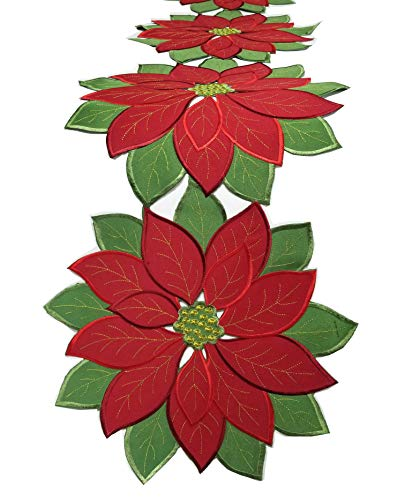 Holiday Christmas Applique Poinsettia Red Green Embroidered Christmas Flower Table Runner for Home Dinner Xmas Table Top Decorations,14